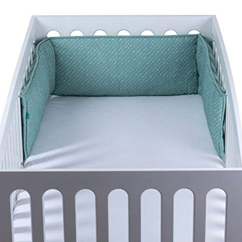 Urban Kanga Bettumrandung | Nestchen Baby | Kopfschutz Babybett | Kantenschutz Baby | für Babybett Große 120 x 60 cm (Grüne Punkte)