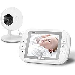 """YISSVIC Vigilabebés Video Monitor Bebé Inalámbrico LCD 3,5"""" con Cámara Visión Nocturna por Infrarrojos - Se puede conectar hasta 4 Cámaras"""