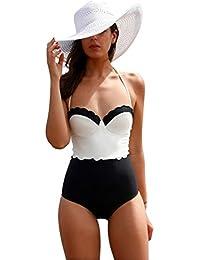 Moollyfox Clásico Encanto De Una Pieza De Trajes De Baño Swimsuit Push Up Empalme De Color Bañador Bikinis Ropa De Baño L Como Cuadro XpMALp