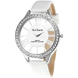 Ladies Watch Leather White So Charm Bracelet Made with 48 Crystal from Swarovski Elements