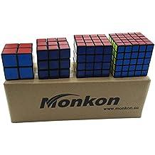 Monkon - Juego de cubos de Rubik de varios tamaños, 4 unidades
