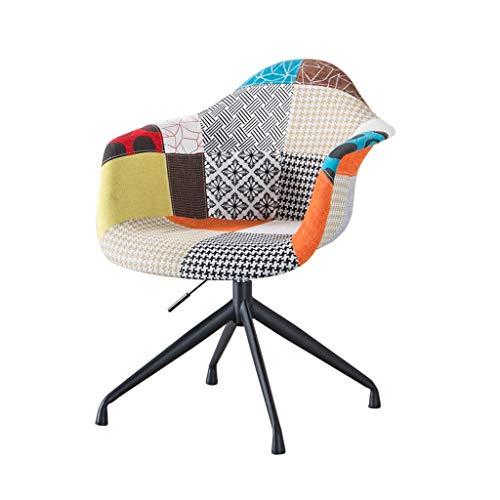 Wubing Computer Stuhl Farbe Mosaik Sackleinen Stuhl Lounge Chair Büro Besucher Stuhl Haushalt Esstisch American Light Schreibtisch Stuhl Personalisierte Fixed Lift (Color : ORANGE, Size : A) - Handwerker Wohnzimmer Stuhl