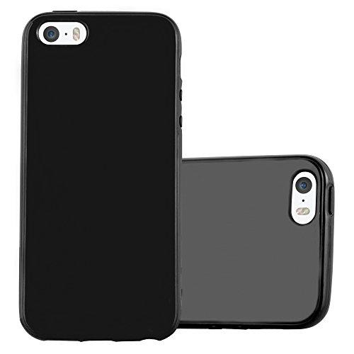 Cadorabo Hülle für Apple iPhone 5 / iPhone 5S / iPhone SE - Hülle in Jelly SCHWARZ - Handyhülle aus TPU Silikon im Jelly Design - Silikonhülle Schutzhülle Ultra Slim Soft Back Cover Case Bumper - Schwarz Case Iphone 5 Bumper
