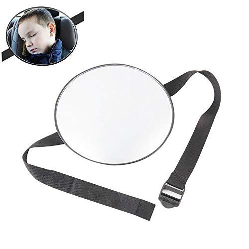 Kobwa, specchio rotondo per auto per bambini, specchietto retrovisore per sedile posteriore, con cinghia regolabile attaccata al poggiatesta, visione a 360 gradi