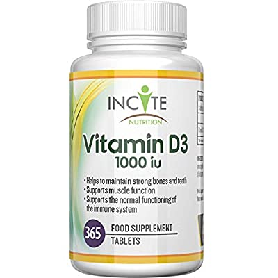 Vitamin D 3 365 Micro Tablets (1 years supply) 1000IU Vitamin D3 Supplement, High Absorption Cholecalciferol Vit D 3 | Vitamin D3 Mini Tablets Easier to Swallow than Vitamin D Softgels by Incite Nutrition