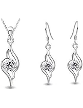 findout 925 Silver Diamond Accent Amethyst Engel Tianyu Set Ohrring + Anhänger Halskette + Armband (Amethyst)