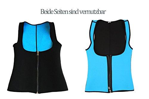 MISS MOLY Waist Trainer|Damen Neopren Shaper Korsett zum Abnehmen Sweat Vest Waist Cincher Sport Unterbrust Taillenformer Schwarz/Blau Blau