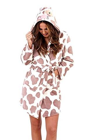 Loungeable, Robe pour femme de luxe avec capuchon nouveauté Fun cadeau 3D robe d'animal, Vache, Child 3-4 Yrs