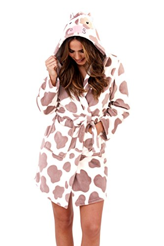 Loungeable, Damen Luxus Kaputze Neuheit Spaß Geschenk 3D Tier Robe , Kuh, Child 5-6 Yrs (Jersey Robe Kurze)