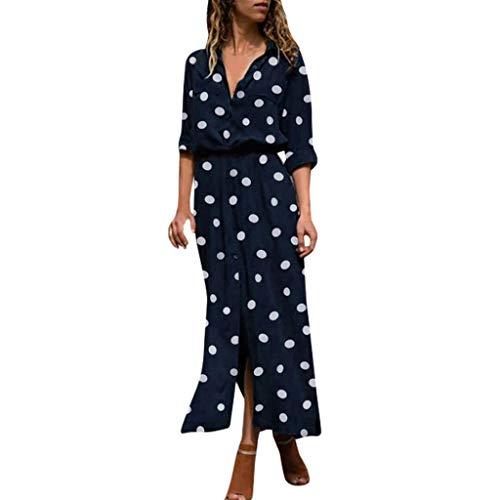 Floweworld Damen Sommer Maxi Kleider dot Print v-Ausschnitt Langarm Taste langes Kleid Vintage Party Strandkleid Alessi Cocktail