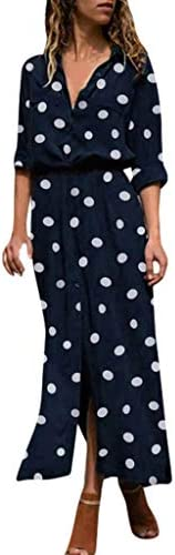 Fankle Womens Casual Roll Up Sleeve Button Down Maxi Shirt Dress Polka Dots Print Button Down Loose Dress
