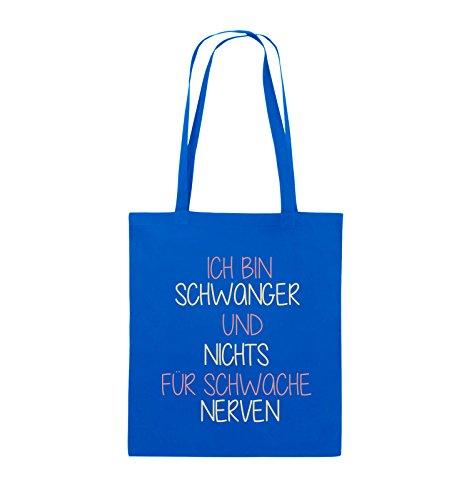 Comedy Bags - Ich bin Schwanger und nichts für schwache Nerven. - Jutebeutel - lange Henkel - 38x42cm - Farbe: Schwarz / Weiss-Neongrün Royalblau / Rosa-Beige