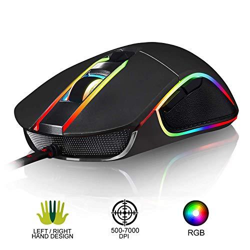 Gaming Maus 3500 DPI mit 6 Tasten, Licht-Modi, Gewichtstuning, USB Wired Mäuse für Pro Gamer