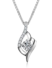 S.Vantine 925 Sterling Silver Necklace Cubic Zirconia Twist Cube Love Pendant 18 Inches X8CwTN