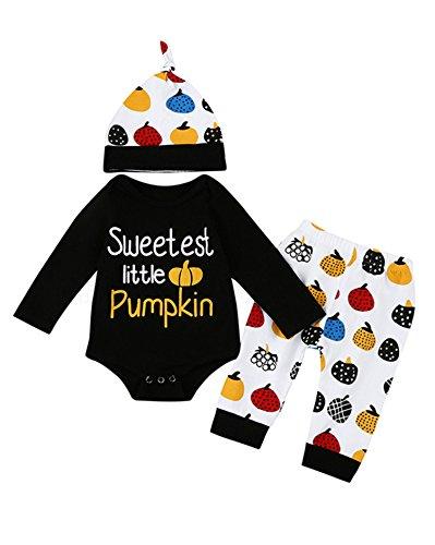 lloween kostüm Kind kinderkostüme Niedlich Kürbis Drucken Baby Mädchen Jungs Spielanzug Tops + Hosen + Hut Outfits Kleider Set (6-12M, Gelb) ()
