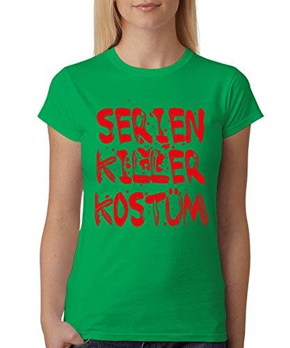 clothinx Damen T-Shirt Fit Serienkiller Kostüm Grün Gr. - Dexter Kostüm Halloween