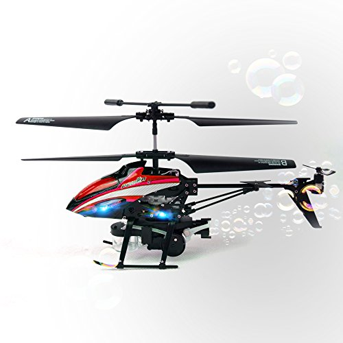 GizmoVine Wltoys V757 RC Helicopter 3.5CH Built-in Gyroscope RC Airplane 2.4GHZ Remote Control Helicopters RTF with Bubblecopter Blower (Red)