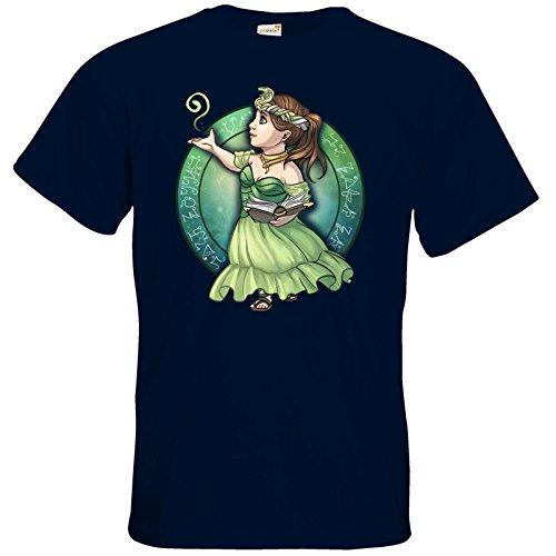 getshirts - Das Schwarze Auge - T-Shirt - Götter - Hesinde - Chibi Navy