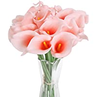 Luyue Calla Bridal Wedding Bouquet Lily Head Lataex Real Touch Flower Bouquet Pack of 20 Corallo rosa - 20 Calla Lily