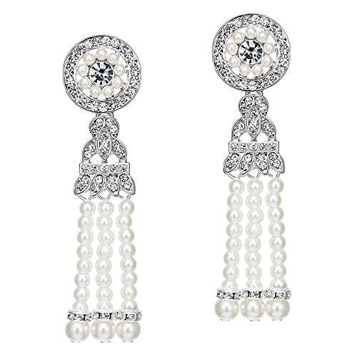 Coucoland 1920s Retro Stil Ohrringe Damen Perlen Dangle Ohrringe Inspiriert von Great Gatsby Damen Kostüm Accessoires (Stil 1-Silber)