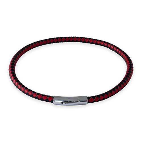 Fly Style Herren Damen Hals-Kette Leder-Kette Arm-Band geflochten Schwarz-Rot 18-70 cm (Länge 18 cm-Stärke 6mm) nest011_black-red (Leder Armband 6mm)