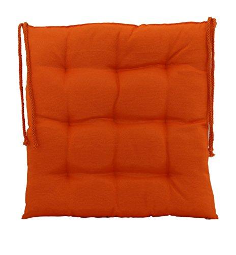 Sitzkissen Dekokissen Stuhlkissen Zierkissen Gartenkissen 9er Steppung - Größe: ca. 40 x 40 cm 2er Vorteilspaket - Orange