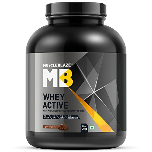 MuscleBlaze Whey Active Protein Supplement Powder - 4.4 lb/ 2 kg, 60...