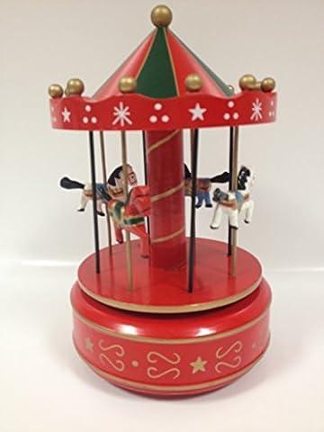 Carrousel Noël musical en bois 26cm - Rouge