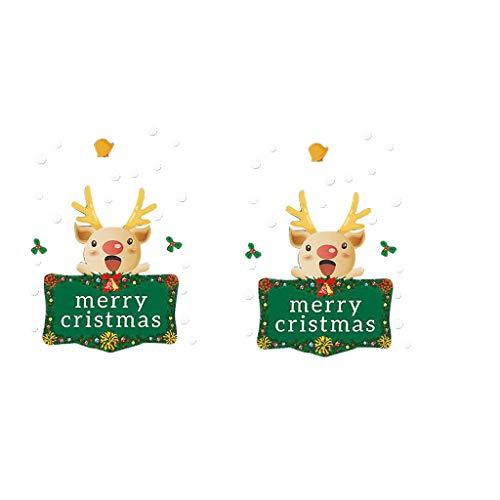 Yearnly Weihnachten Fenstersticker, Weihnachtsmann Elk Schneeflocken Abnehmbare Weihnachten Aufkleber Fenster Weihnachten Deko Wandtattoo Statisch Haftende PVC Aufkleber