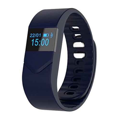 C'est M5S Fitness-Tracker, Bluetooth 4.0, IP54 wasserdicht, Kalorienzähler, Schrittzähler, Schlafmonitor, Herzfrequenzmessung, kompatibel mit iPhone 7/6/6P, iOS 6.1 und höher sowie Android 4.3 und höher M blau (Lg Video Call Kamera)