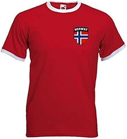 Norway Norge Norwegian Soccer Football Shield Crest T-Shirt Jersey - Small