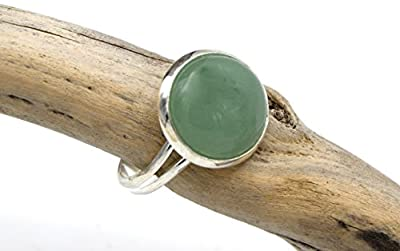 Bague aventurine vert argenté, BAGUE REGLABLE aventurine pierre de gemme - Silver green aventurine ring, adjustable aventurine gemstone ring