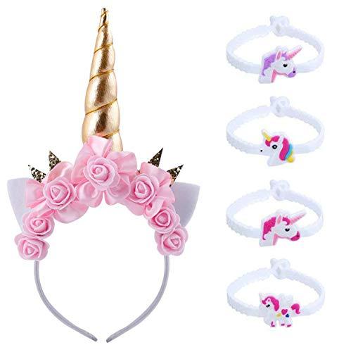 Einhorn Haarreif Stirnband mit Blume Einhorn Armbänder Horn Kopfbedeckungen Haarband Kopfschmuck Haare Hoop Blumenkranz Haarbänder Haarschmuck für Mädchen Kinder Geburtstag Party Kostüm (horn4)
