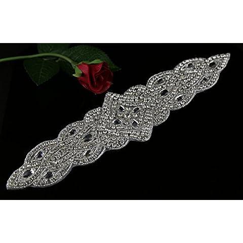 queendream trenzado Cristal Diamante Boda cinturón Sash brillantes cristales perlas brillante cristal Sash–marfil