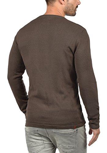 BLEND Rufus Herren Strickpullover Feinstrick-Pulli mit Rundhals-Ausschnitt und Brusttasche aus hochwertiger Baumwollmischung Coffee Brown (71507)