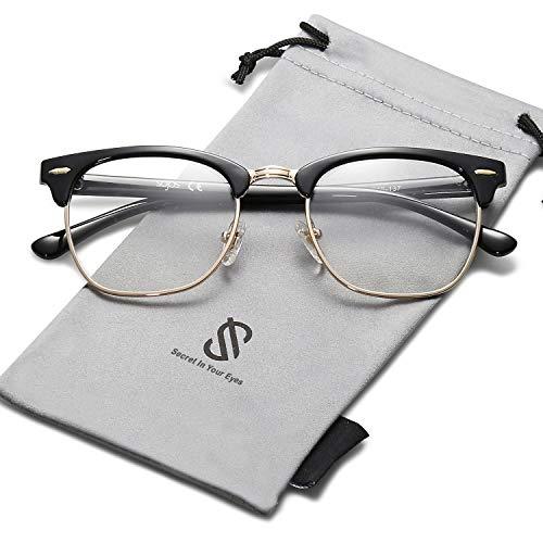 SOJOS Herren Brille Nerdbrille Brillenfassungen Wechselgläser Silikone Nasenpolster SJ5018 mit Schwarz Gold Rahmen