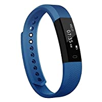 TOOBUR Slim Fitness Tracker, Waterproof Activity Tracker with Pedometer Calories and Sleep Monitor, Step Counter Wristband Watch for Women Men Kids (Blue)
