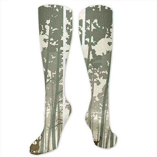 Unisex Highly Elastic Comfortable Knee High Length Tube Socks,Vertical Stripes With Tall Trees And Lonely Deer Nature Illustration,Compression Socks Boost Stamina,Sage Green Cream Brown Sage Green Lace