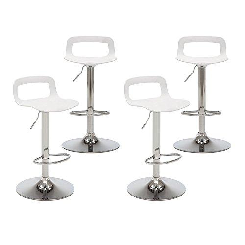 Adoudou Barhocker Modern Verstellbar 360 ° Schwenk, Höhe Bar Hocker, Stühle Für Café, Bar, Küche, Restaurant,White,Setof4 - Schwenk Hoch Hocker