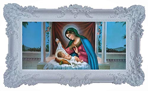 Geburt M2 Mutter Maria Jungfrau Madonna Mutter Gottes heilige Maria Ikonen Bild Repro Barock Antik Look gerahmtes Gemälde mit Ornamentverziehrungen in den Rahmen montiert Repro 96x57cm (Weiß)