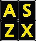 Englisch UK Große Beschriftung (Großbuchstaben) Schwarz Tastaturaufkleber mit Gelben Buchstaben - passend für jede Tastatur