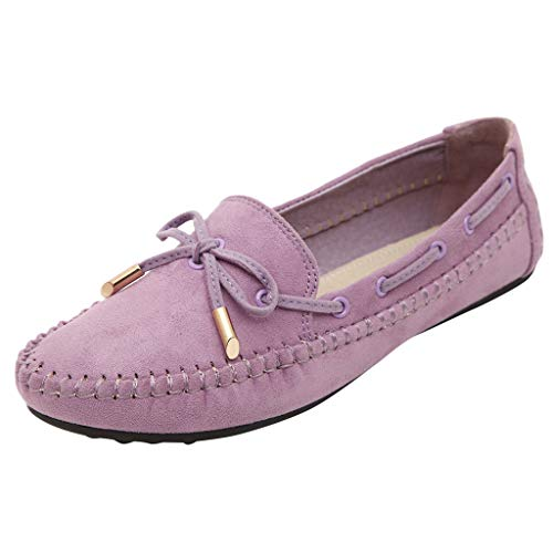 Dorical Damenschuhe Flache Schuhe Bogen College-Stil Groß Schuhe Mode Erbsen Schuhe,Für Frauen/Mädchen Oversize Moderne Erbsenschuhe Freizeitschuhe Faule Schuhe(Lila,39 EU)