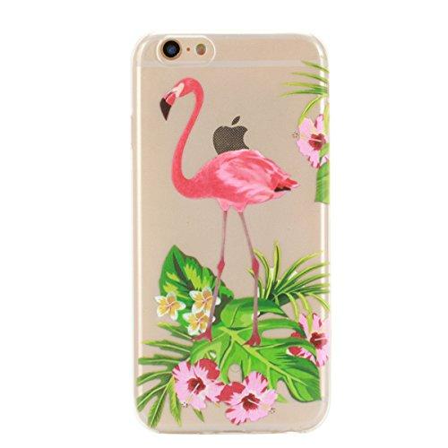 iPhone 6 Hülle, iPhone 6S Hülle, Gift_Source [ Panda ] Hülle Case Transparent Weiche Silikon Schutzhülle Handyhülle Schutzhülle Durchsichtig TPU Crystal Clear Case Backcover Bumper Case für iPhone 6s/ E1-Blumen & Flamingo