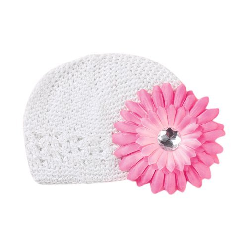 Price comparison product image SODIAL(R) Crochet Handmade Beanie Cap Hat Baby Toddler Kids w/ Daisy Flower - White
