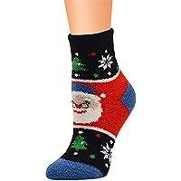 Kinlene Trabajo casual Calcetines de negocios Impresión navideña Coral Fleece Medias medias deportivas