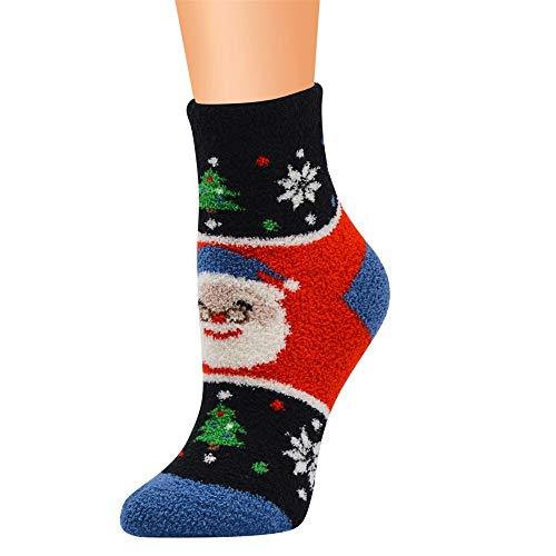 Quaan-Weihnachten Unsex Beiläufig Arbeit Geschäft Socken, Drucken Koralle Vlies Mittel Sport Niedlich Anti-Rutsch Mittel weich gemütlich Licht elastisch Deodorant Anti Unterhose Schlafsocken Socken