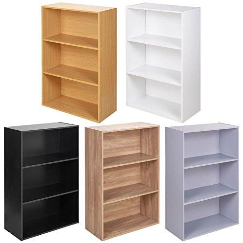 URBNLIVING Wide 3 Tier Wooden Beech Shelf Bookcase