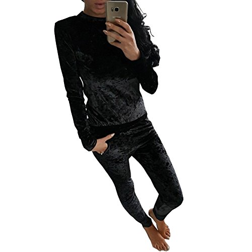 Longwu Frauen Casual Pleuche Langarm Strampler Overall Bodycon zweiteilige Set Clubwear Schwarz-XL (Leopard-seide-cardigan)