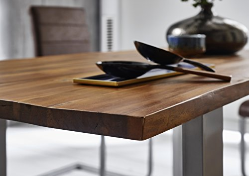 SAM® Stilvoller Esszimmertisch Ida aus Akazie-Holz, Baumkantentisch mit lackierten Beinen aus Roheisen, naturbelassene Optik mit Einer Baumkanten-Tischplatte, 180 x 90 cm - 4