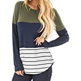 Save 45%~Clearance !!! YANG YI,Women's Casual Soild Stripe Lace Patchwork Round Neck Long Sleeves Tops T-Shirts Pullover